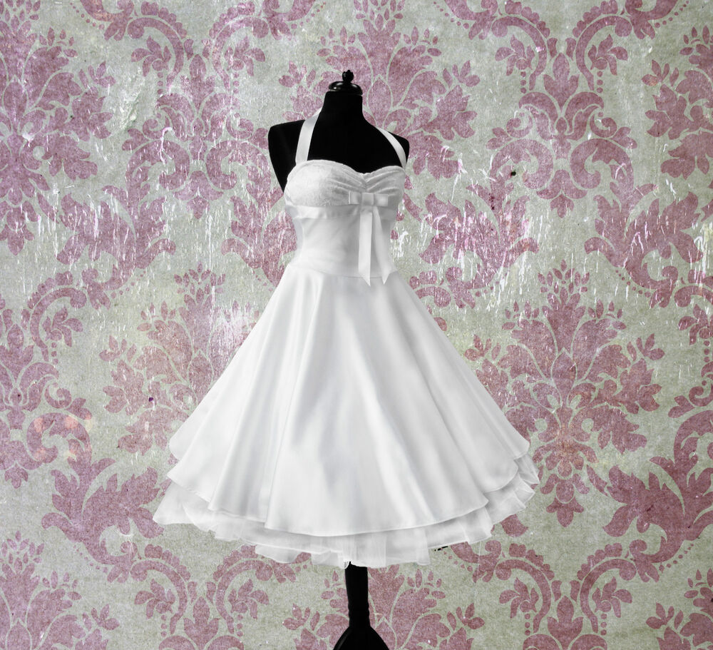 rockabilly brautkleid knielang hochzeitskleid 50er ivory. Black Bedroom Furniture Sets. Home Design Ideas