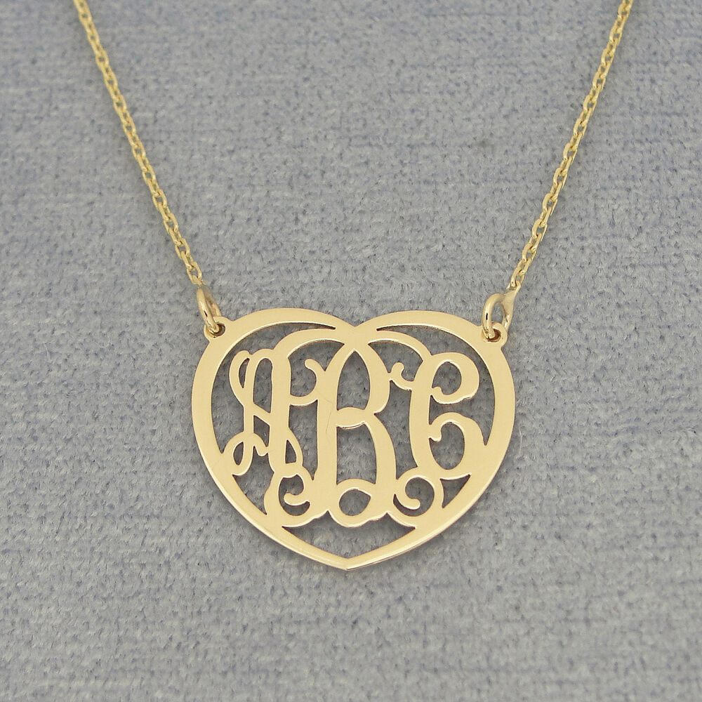 small 14k solid gold 3 initials monogram necklace 3