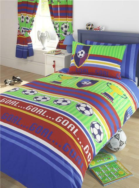 Duvet quilt cover boys bedding and or curtains football - Bedroom comforter and curtain sets ...