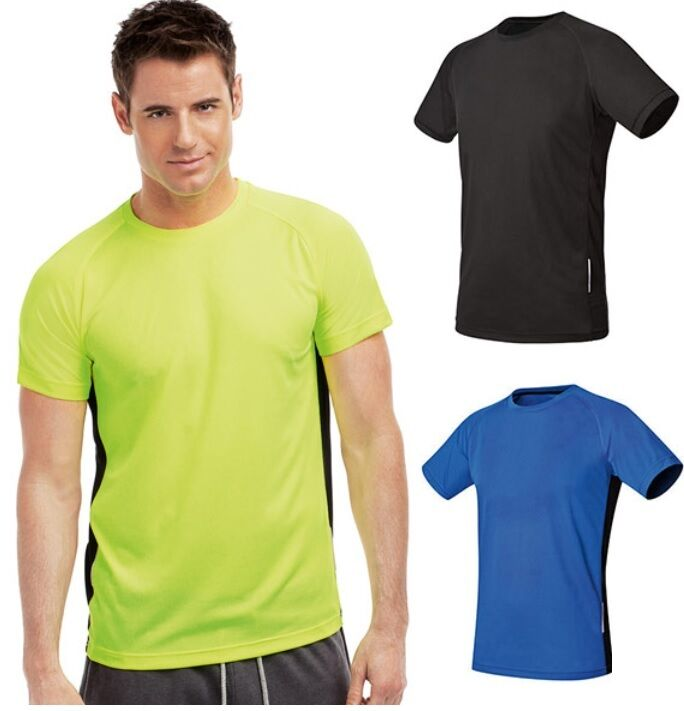 Hanes 7791 cool dri mens mans plain polyester contrast for Polyester t shirts for men