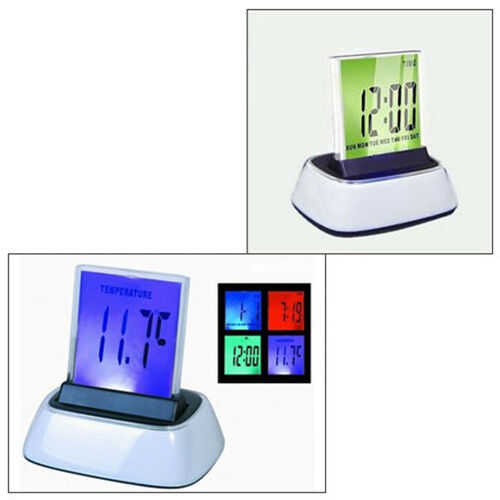 digital lcd alarm clock thermometer 7 color led changing change light big number ebay. Black Bedroom Furniture Sets. Home Design Ideas