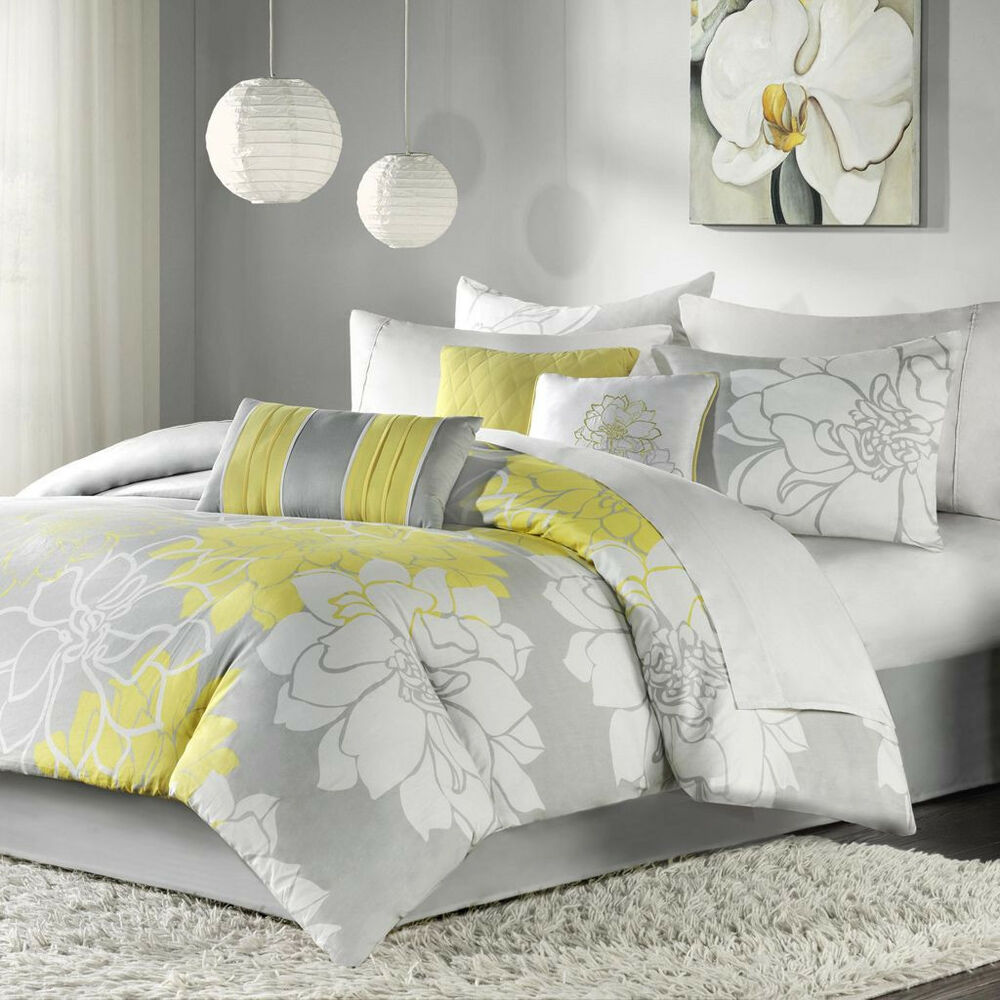 beautiful chic grey gray yellow floral modern 6 pc comforter set cal king ebay. Black Bedroom Furniture Sets. Home Design Ideas