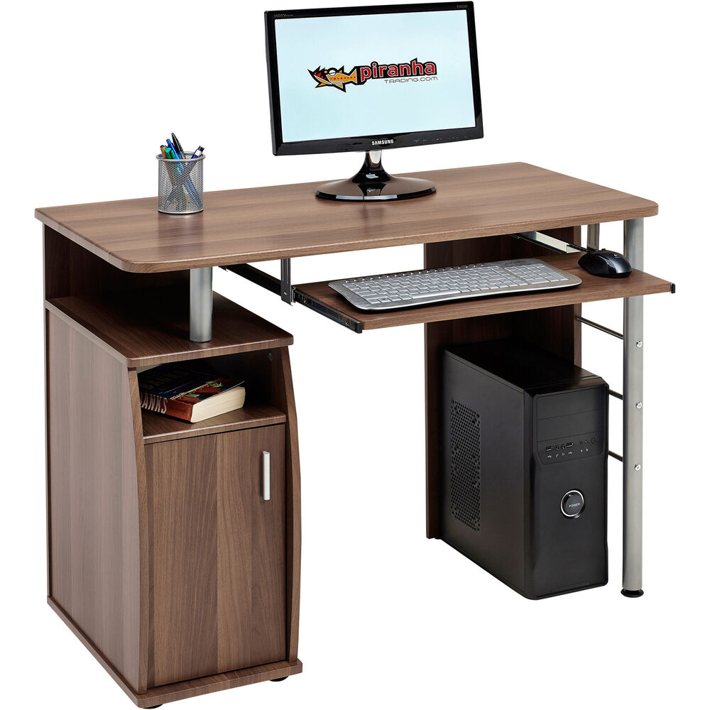 Compact Computer Table With Storage Cabinet Piranha Furniture Walnut Effect Pc1w Ebay