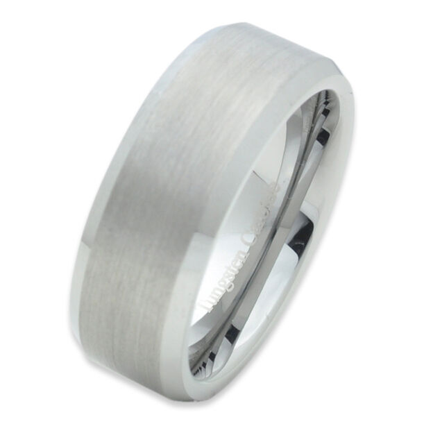 Tungsten Carbide Mens Comfort Fit Wedding Band Ring Silver