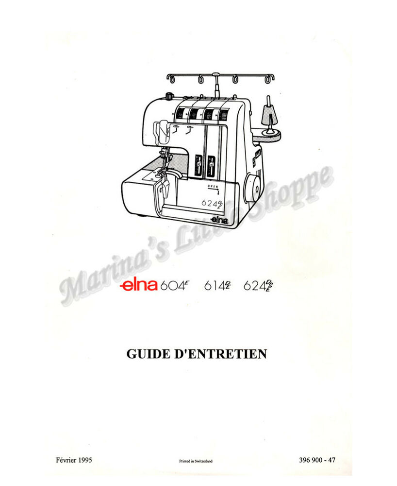 elna 604e  614de  624dse service manual  u0026 parts