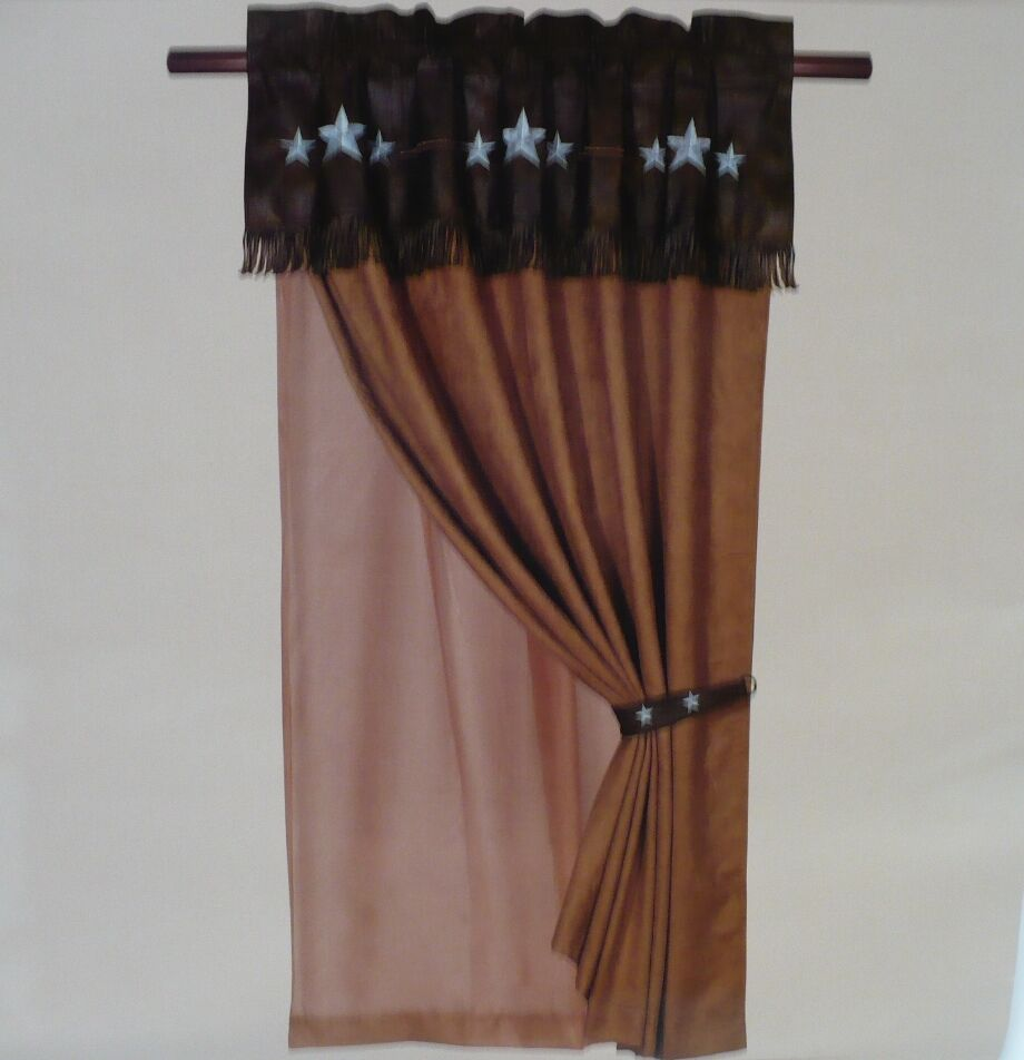 Western decor rustic turquoise blue triple star brown for Decor curtains