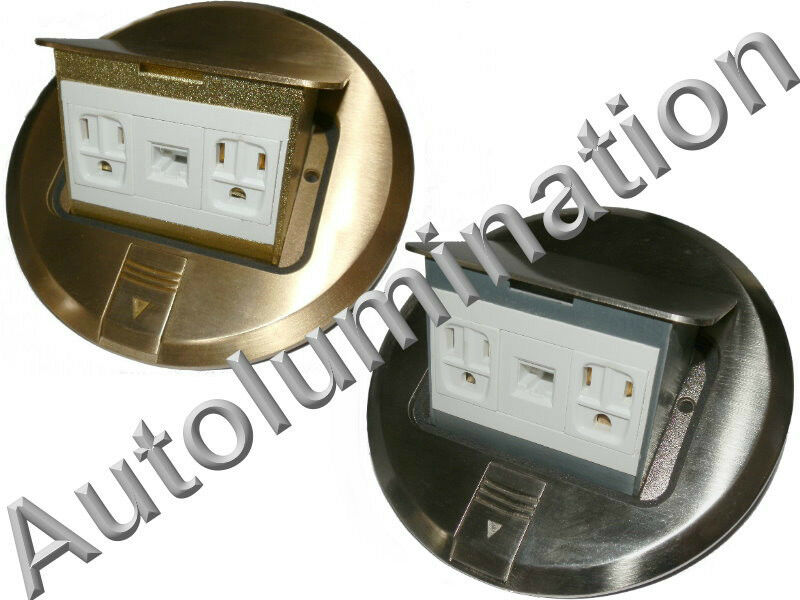 Floor Plate Pop Up Duplex Power Receptacle Amp Rj45 Outlet