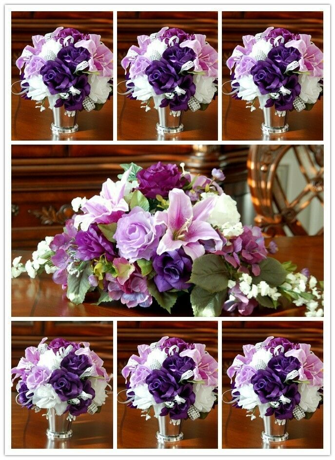 wedding bouquet purple 31pc purple wedding bridal bouquet boutonniere corsage 8481