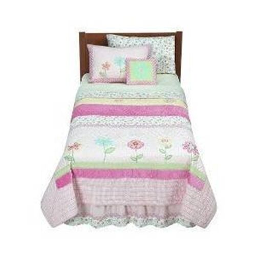 7 Pc Full Bedding Pink Flower Floral Girls Childrens Pink