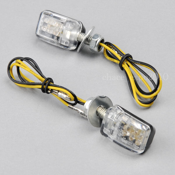 2x 6 led amber mini motorcycle turn signal blinker. Black Bedroom Furniture Sets. Home Design Ideas