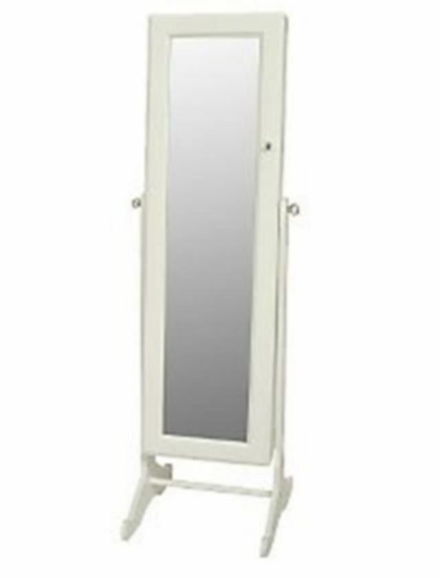 Floor standing white mirror