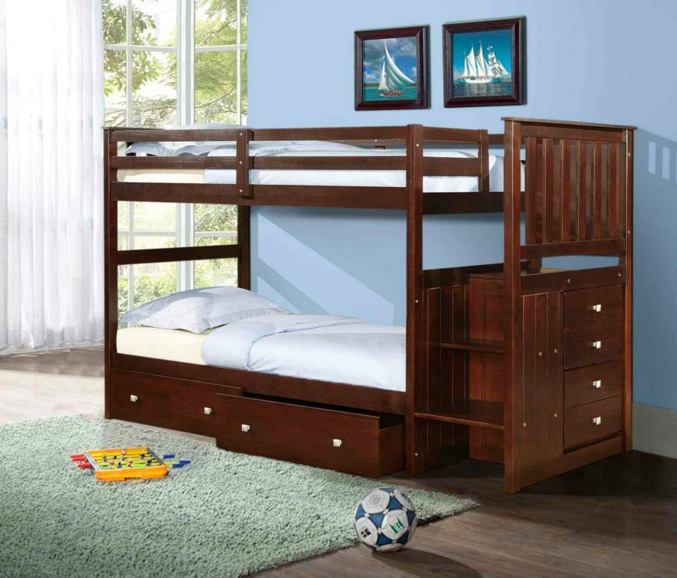 twin twin or full stairway bunk bed donco kids wood w storage chest dfw ebay. Black Bedroom Furniture Sets. Home Design Ideas