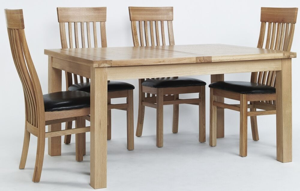solid oak furniture large extending dining table and six chairs