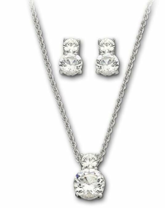 Swarovski Brilliance Set Pendant Amp Pierced Earrings Clear