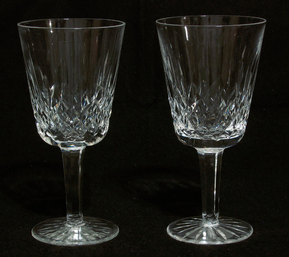 "Waterford Crystal LISMORE 7"" Stems Water Goblets/Glasses - Set of 2 