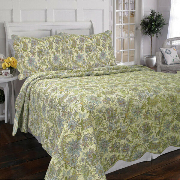 Beautiful tropical sage green blue branches vine floral cozy cotton