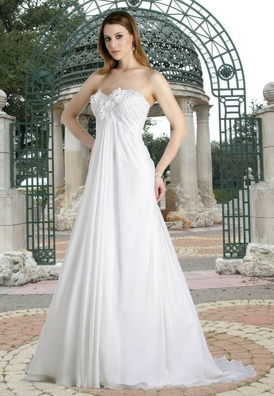 Perfect Elegant Strapless Chiffon Pregnant Woman Wedding Dress Bridal ...