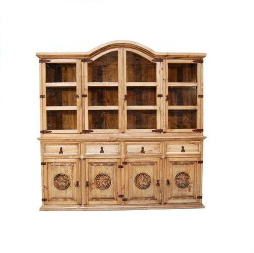 rustic large 2 pc china cabinet with star western solid. Black Bedroom Furniture Sets. Home Design Ideas