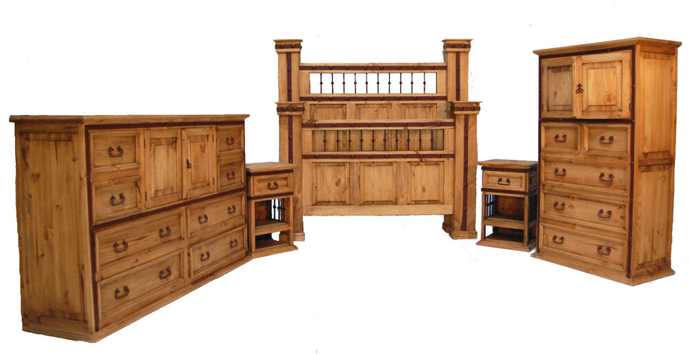 Honey Rustic King Hierro Bedroom Set With Iron Accents