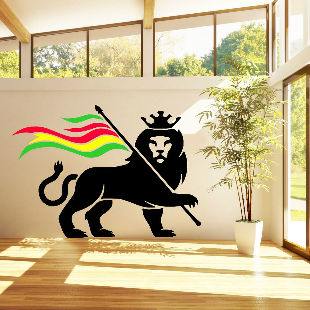 Rasta lion rastafari lion of judah bob marley vinyl wall for Stickers de pared