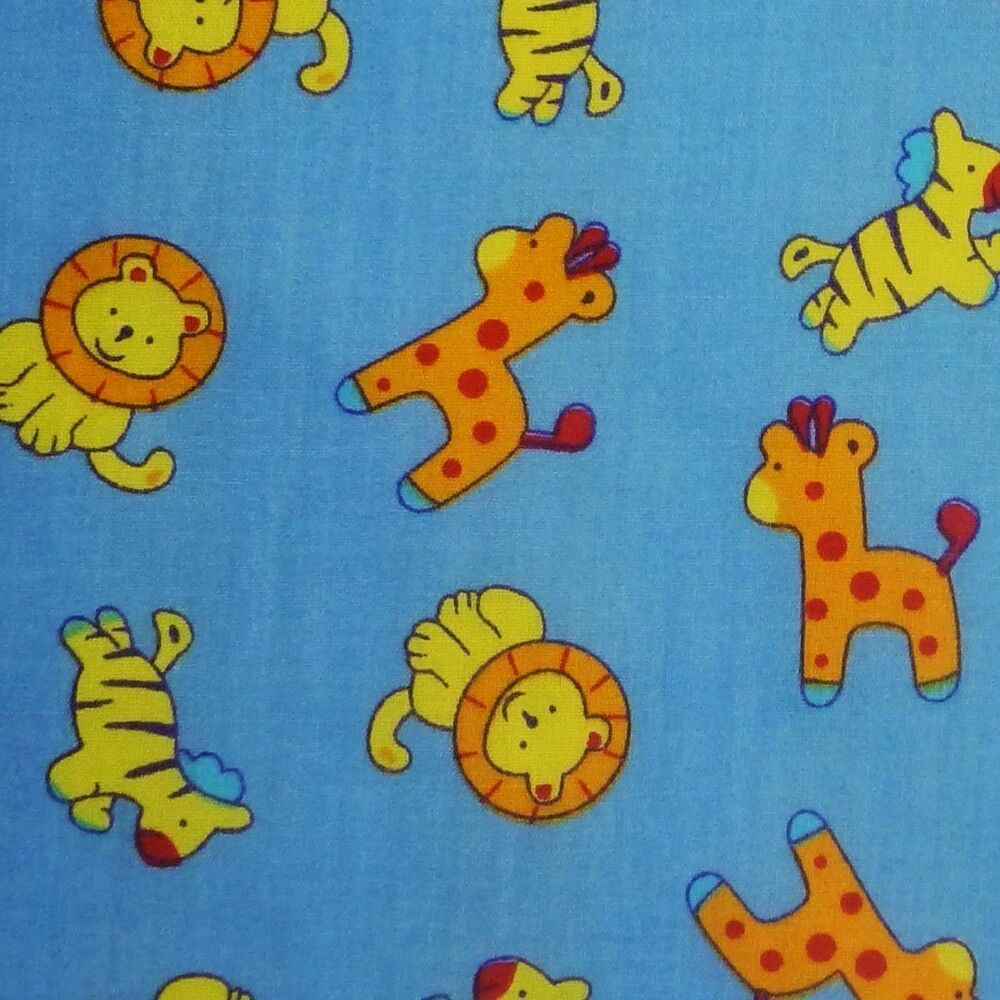 Blue polycotton fabric with baby zoo safari animals per for Baby fabric uk