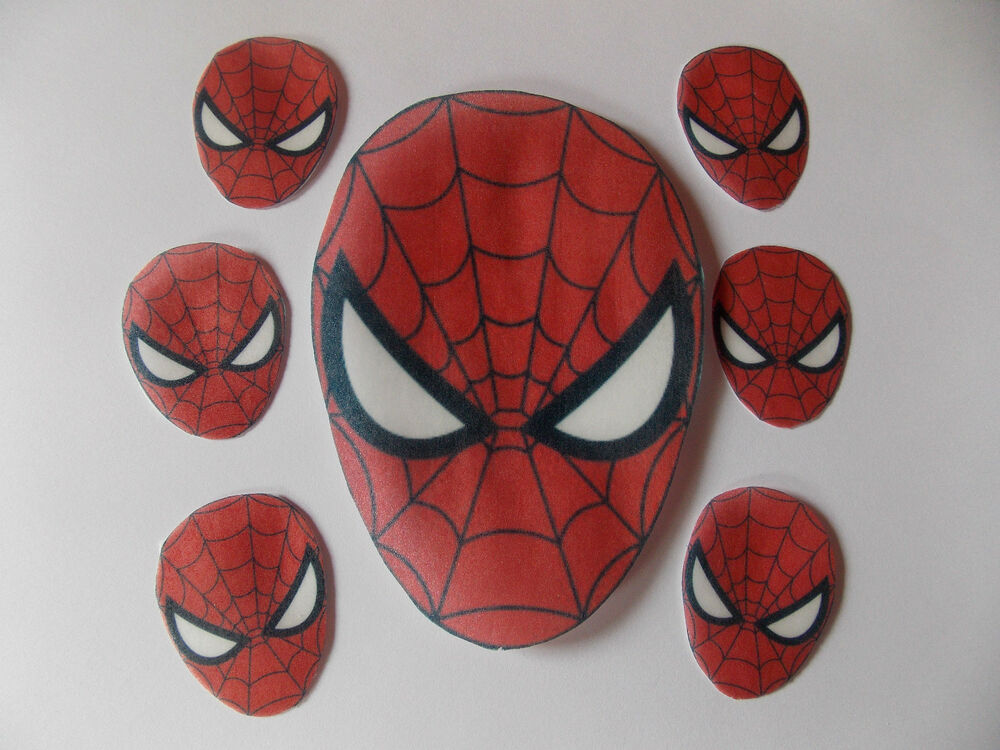 Spiderman Cake Decorations Uk : Large Edible precut Spiderman cake and cupcake toppers eBay