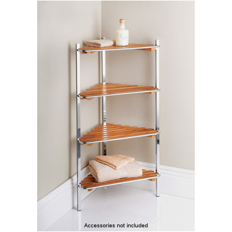 4 Tier Chrome Stand With Bamboo Wood Bathroom Corner