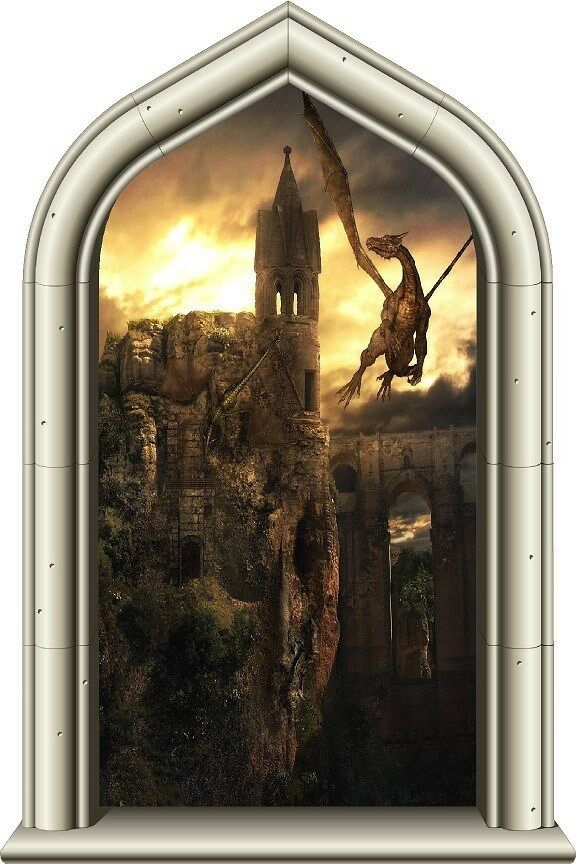 24 Quot Castle Scape Window Instant View Dragon Kingdom 1 Wall