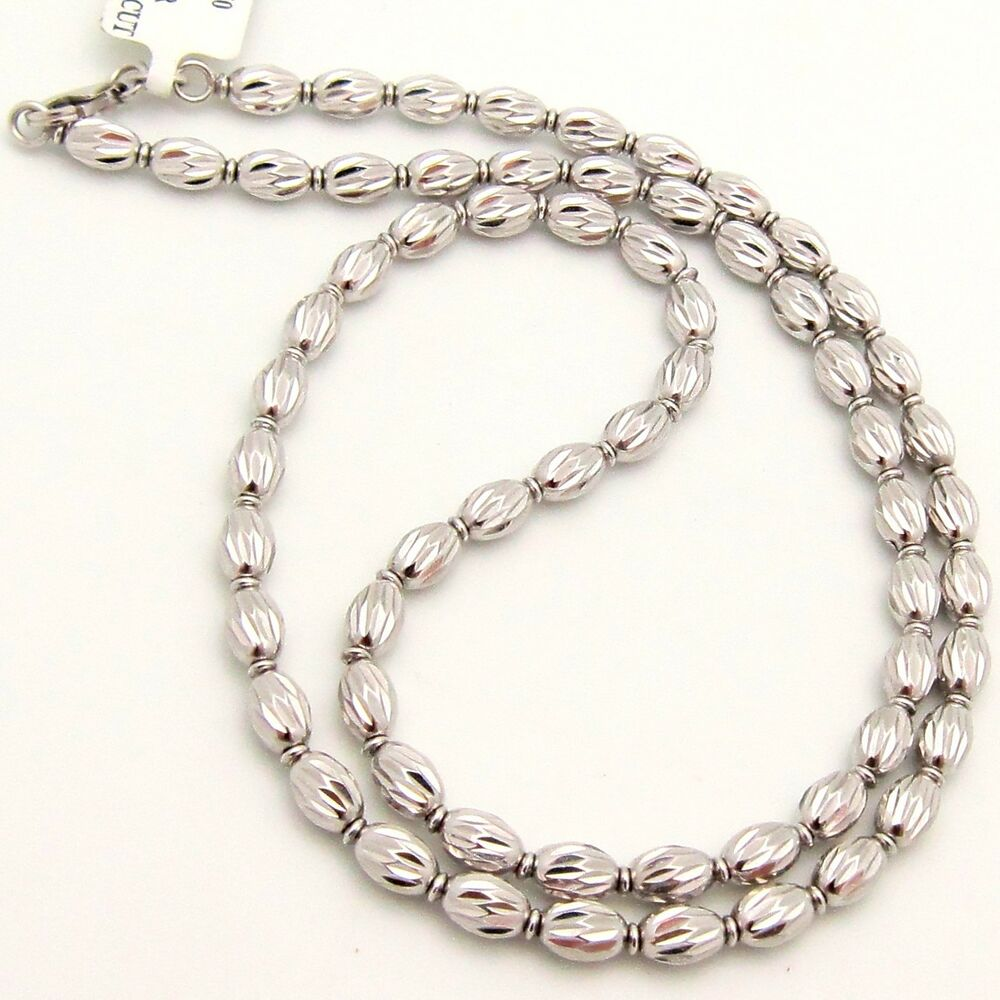 White Gold Chain Bracelet: Gold Diamond Cut OVAL Link CHAIN NECKLACE 14K White 15.5