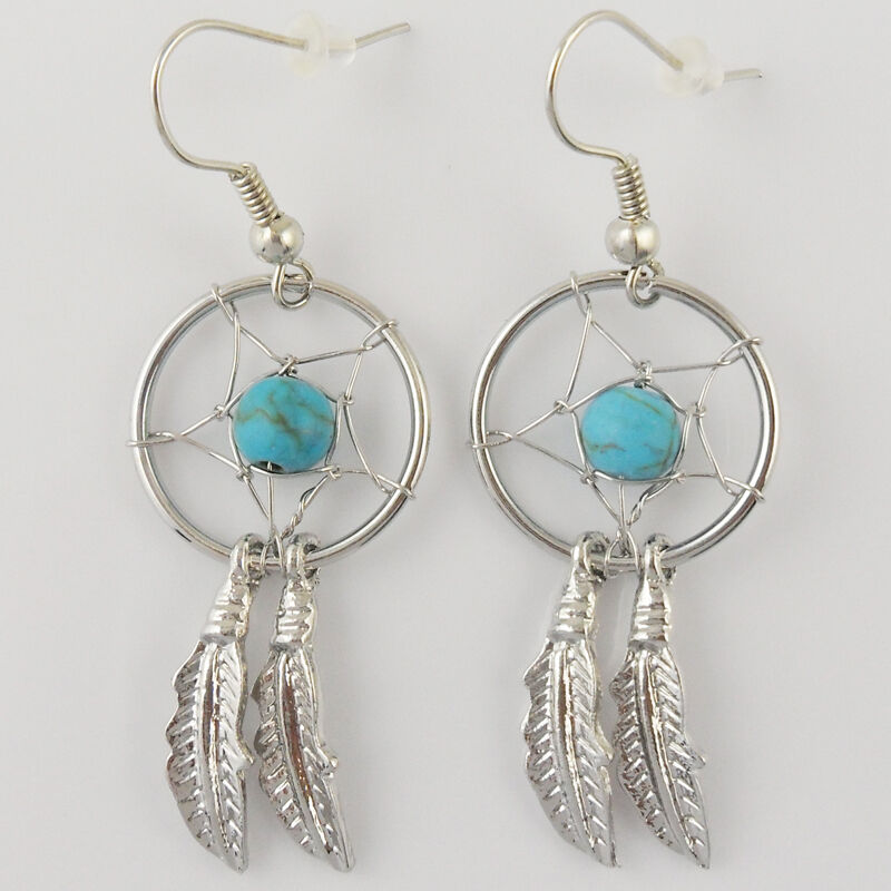 E001 turquoise dreamcatcher dream catcher earrings for Dreamcatcher beads meaning