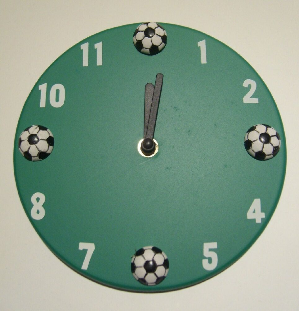 Soccer Wall Clock Kids Teens Tweens Bedroom Home Decor