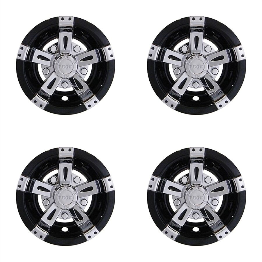 Universal 8 Golf Cart Hub Cap Wheel Cover Vegas Chrome Black Set