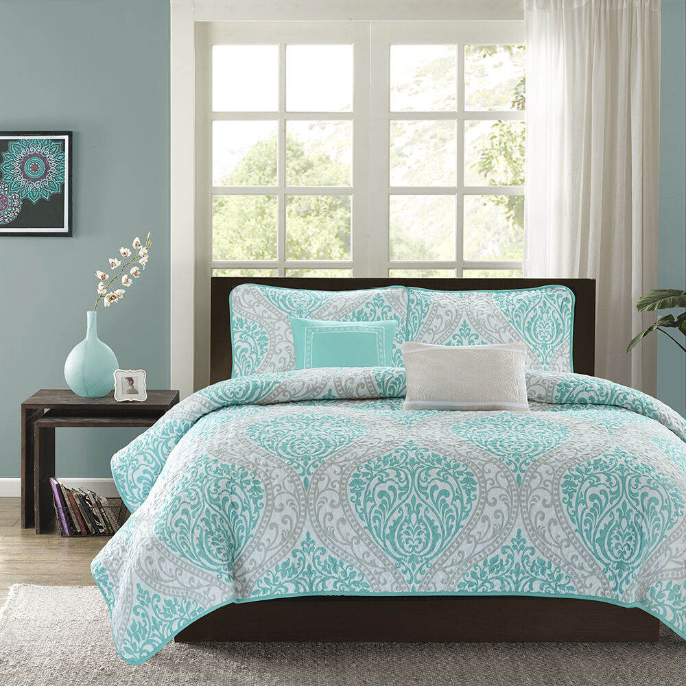 Teal Blue Bedroom: MODERN CHIC BLUE TEAL AQUA WHITE GREY BEACH OCEAN TEXTURED