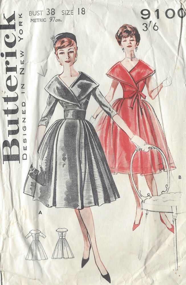 1950s Vintage Sewing Pattern B38 Dress 1020 Ebay