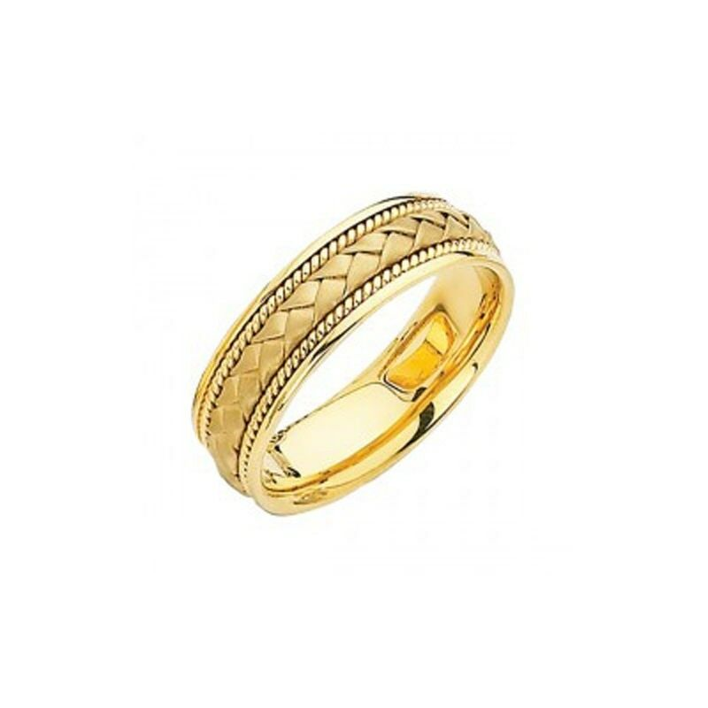 14k Solid Yelllow Gold 8mm Braided Rope Wedding Band Ring