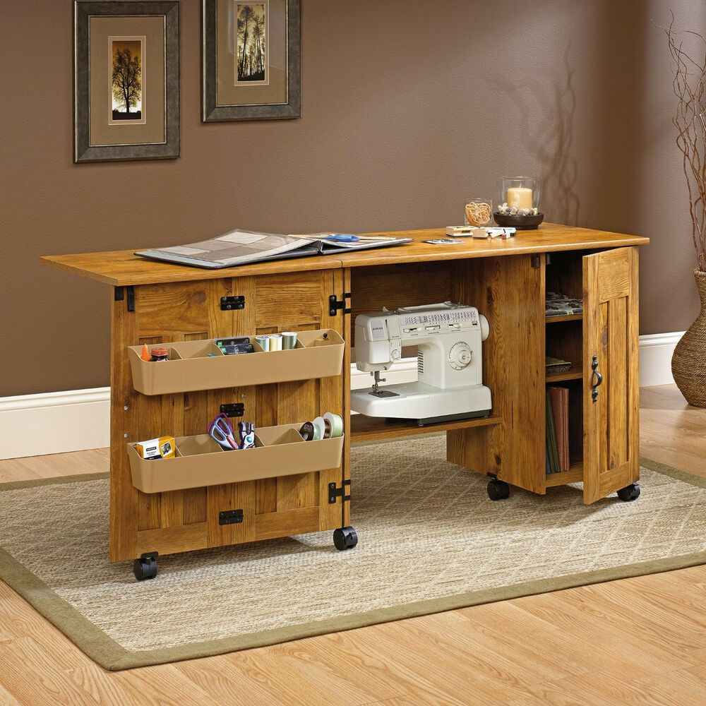 Pine Sewing Craft Table Desk Storage Folding Rolling Drop Leaf Cabinet Wood New | eBay