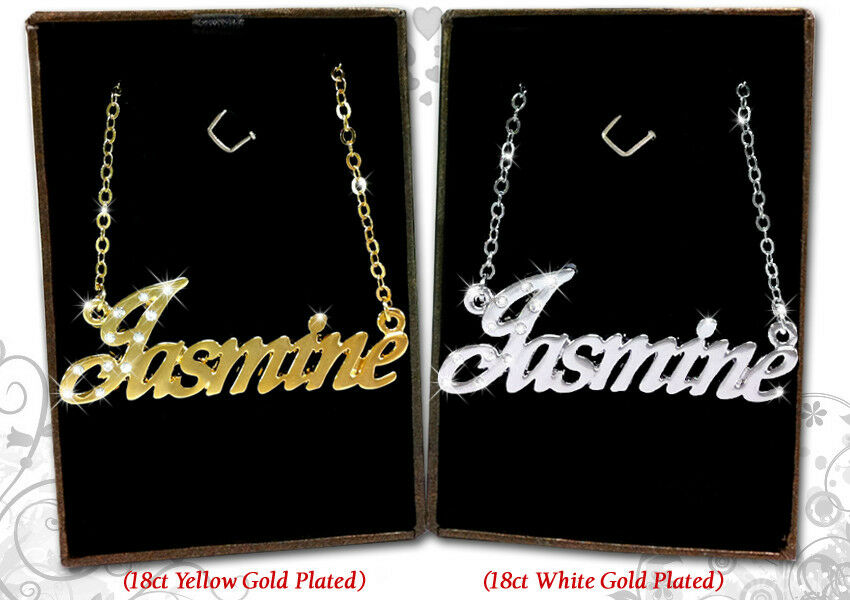Name Necklace Jasmine 18k Gold Plated Personalized Gifts
