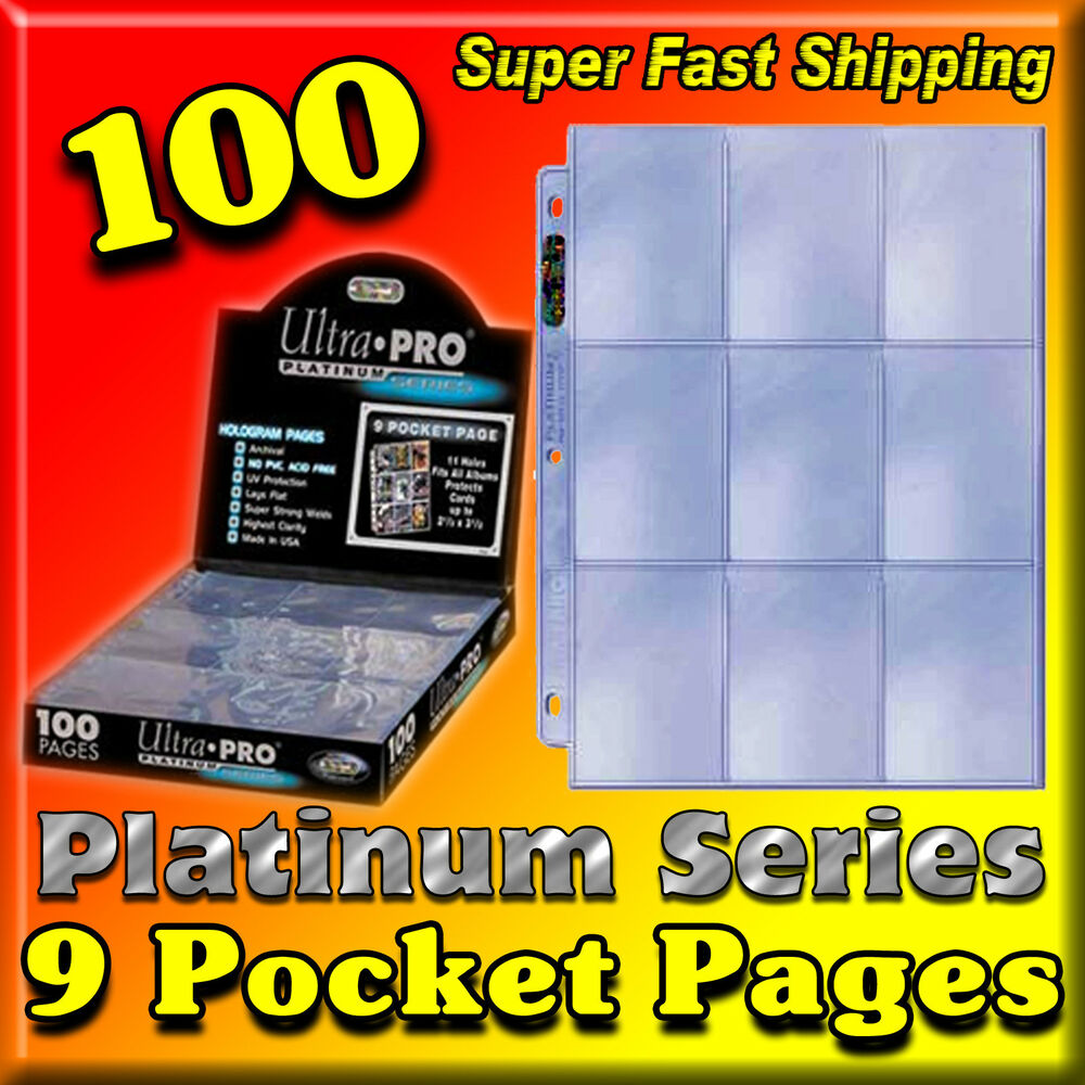 100 ULTRA PRO PLATINUM 9-POCKET PAGES SHEETS PROTECTORS