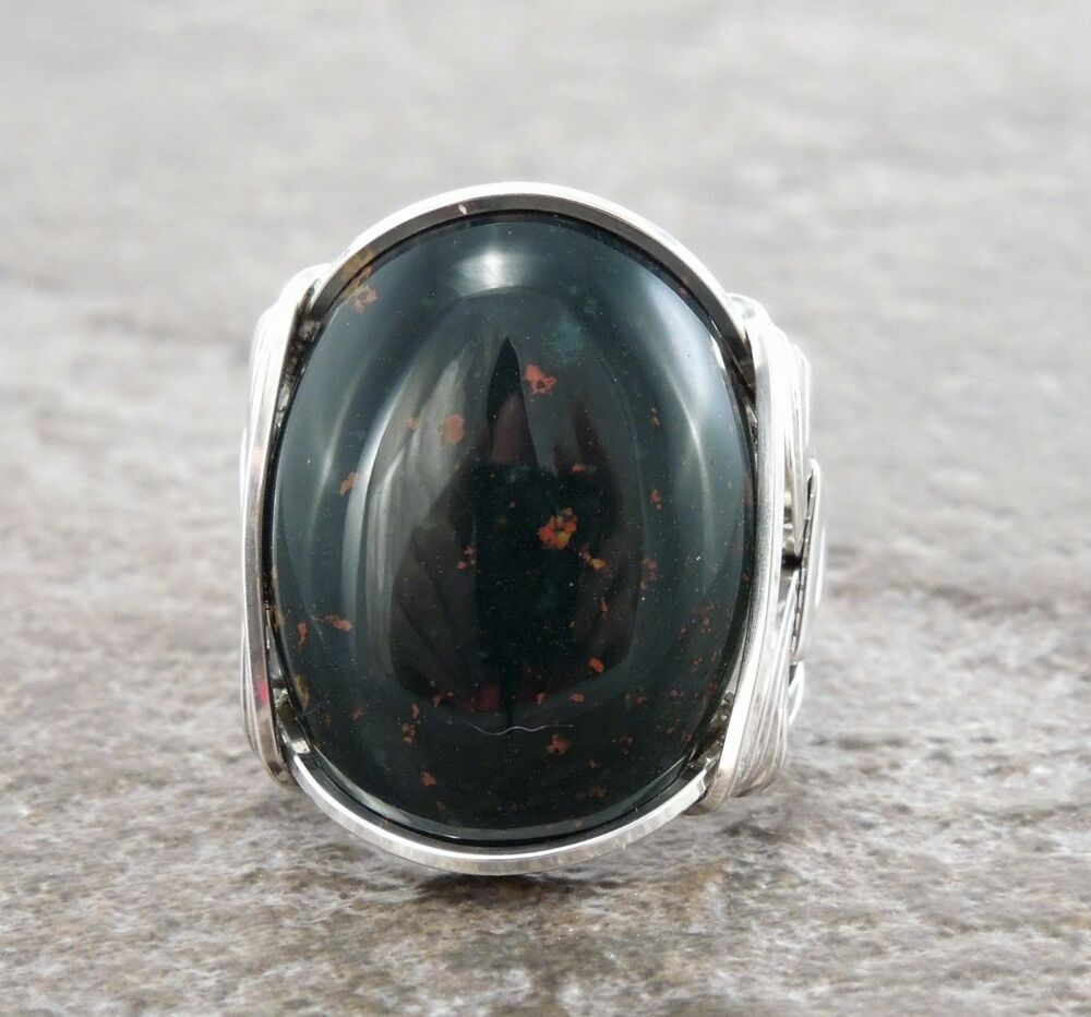 Large Sterling Silver Heliotrope Bloodstone Wire Wrapped