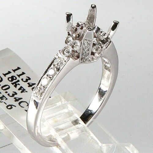 18k Solid White Gold New Engagement Ring Setting Antique 0