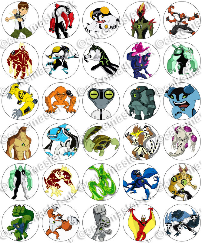 30 x ben 10 aliens birthday collection edible rice wafer paper cupcake toppers ebay - Ben 10 tous les aliens ...