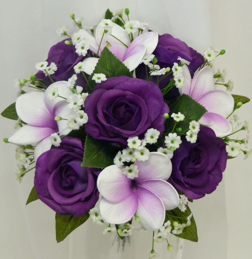 Purple And White Wedding Flower Bouquets: SILK WEDDING BOUQUET LATEX PURPLE ROSES FRANGIPANI WHITE