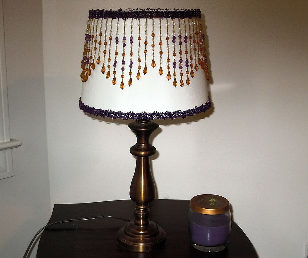 Chandelier Table Lamps: Pair New Bronze Table Lamps W/ Purple & Bronze Embellished
