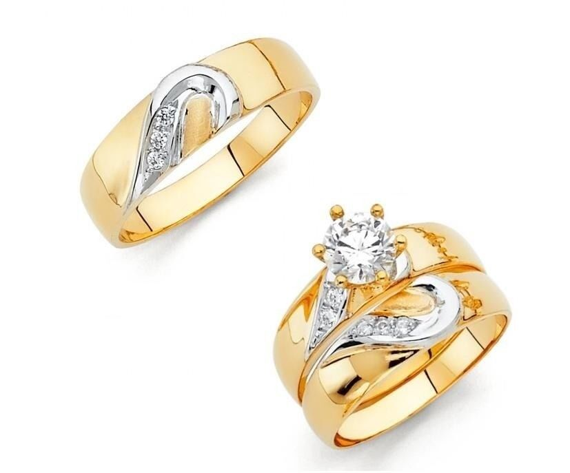 14k two tone gold matching hearts simulated diamond trio for Wedding band and engagement ring set