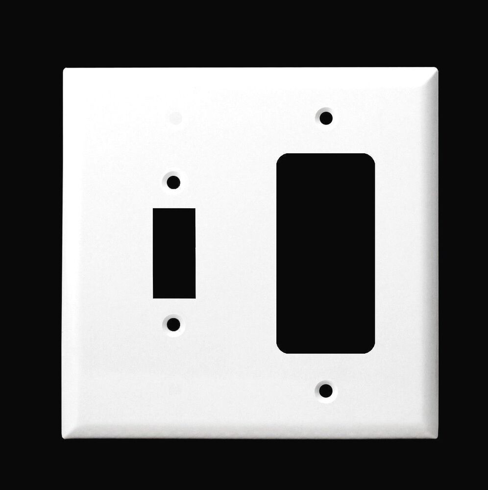 2 Gang Outlet Gfi Rocker Toggle Switch Combo Wall Plate