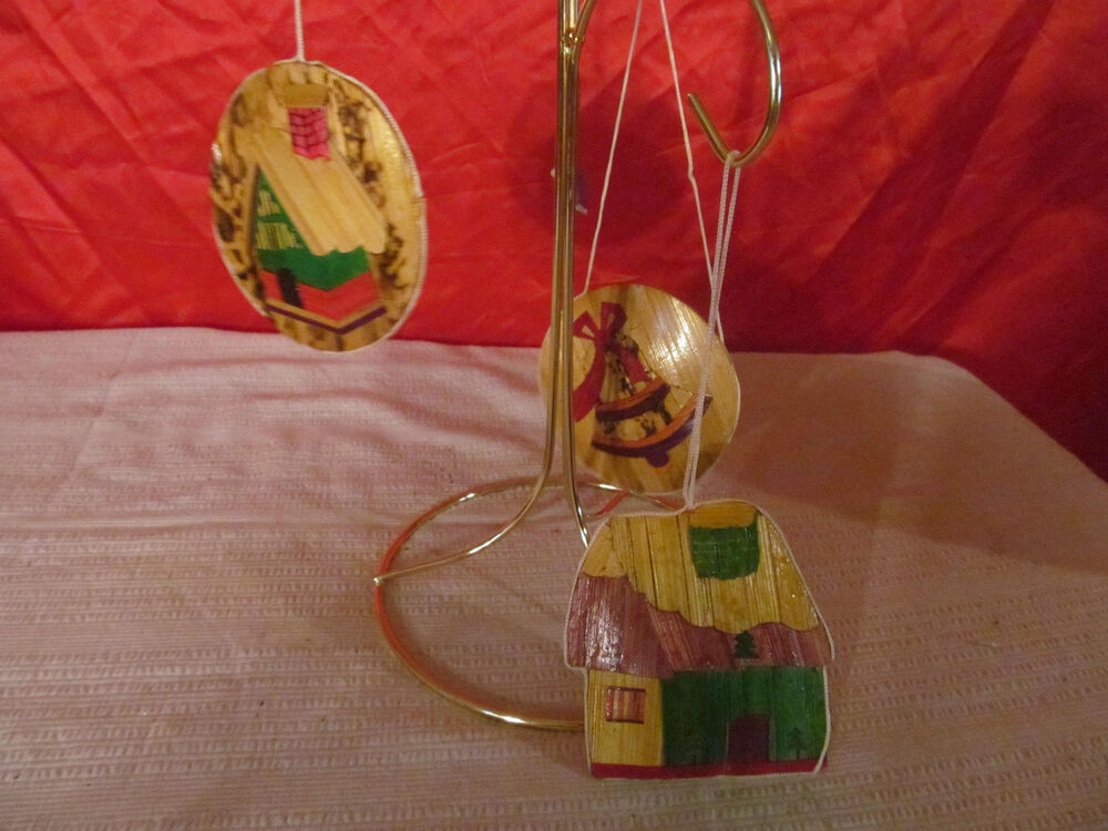 3 vintage wood shaved christmas ornaments