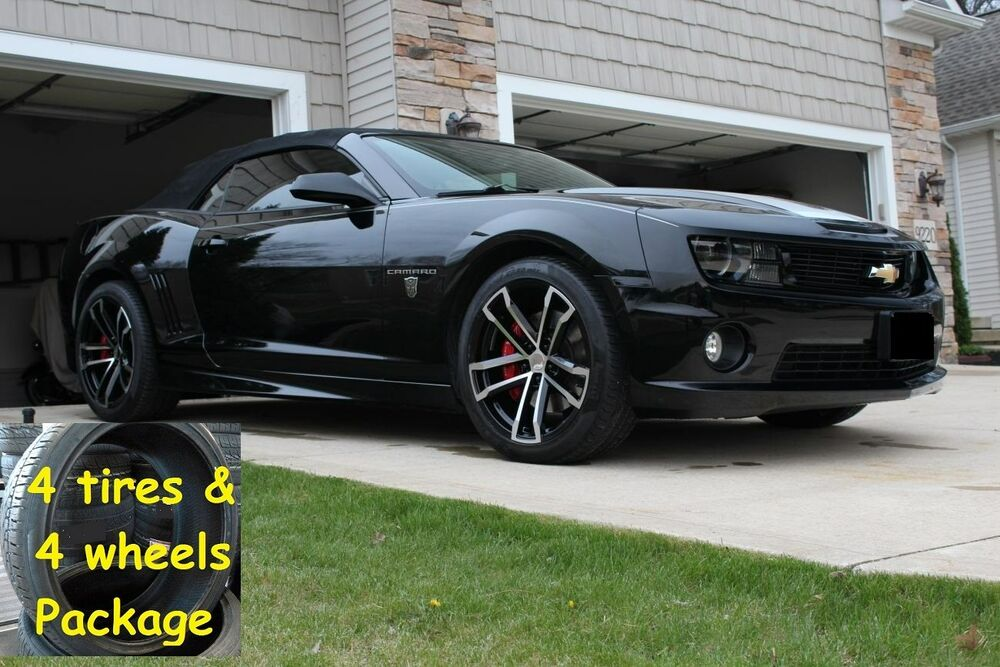 4 20x10 tires package black machined camaro 2010 up 41. Black Bedroom Furniture Sets. Home Design Ideas