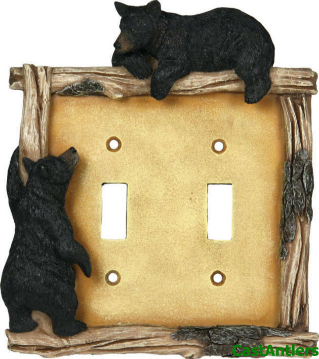 Black Bear Double Light Switch Plate Cover Western Rustic