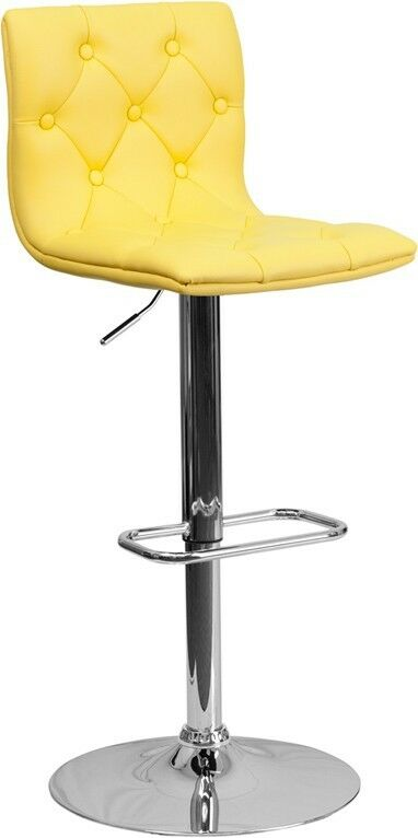 Contemporary Tufted Yellow Vinyl Adjustable Height Bar  : s l1000 from www.ebay.com size 382 x 766 jpeg 19kB