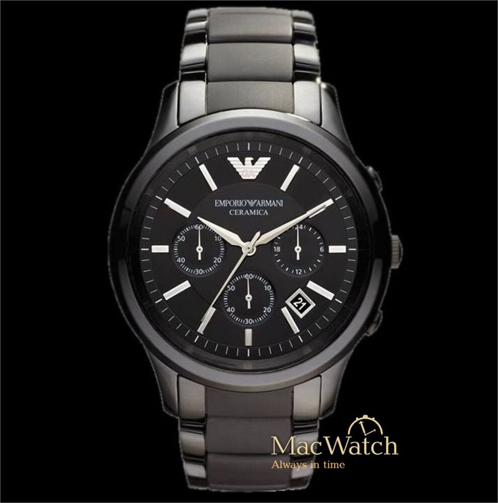 emporio armani herren uhr ar1452 ceramica keramik chronograph schwarz neu ovp ebay. Black Bedroom Furniture Sets. Home Design Ideas